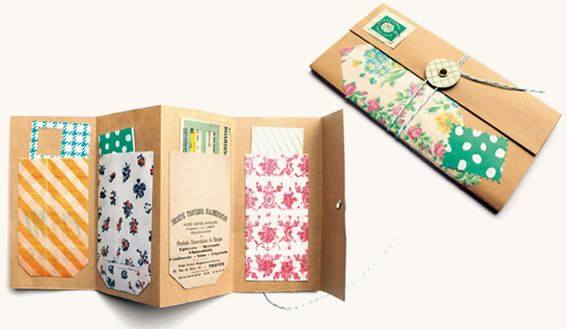 DIY: make a pocket envelope folder. [ From: http://hellosandwich.blogspot.nl/2011/12/fun-cute-craft-workshop-dec-17th.html ]