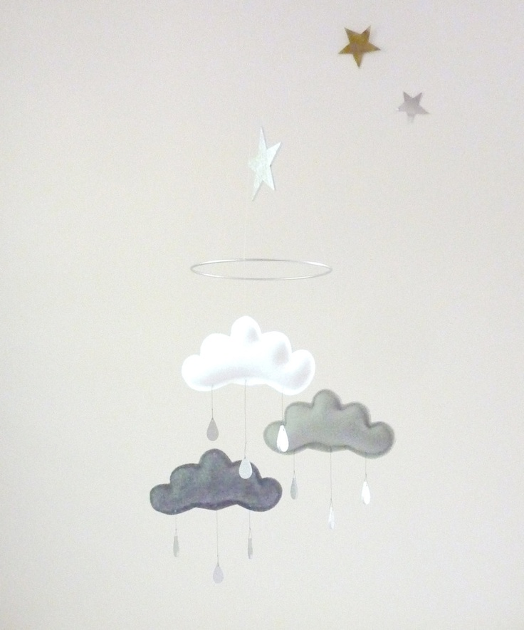 """Maddens -White and Grey cloud mobile for nursery """"SHINTO"""" with gold star by The Butter Flying-Rain Cloud Mobile Nursery Children Decor. $59.00, via Etsy."""