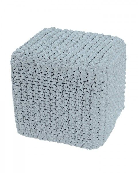 Pastel Blue Knitted Cotton Cube Footstool 35 x 35 x 35 cm