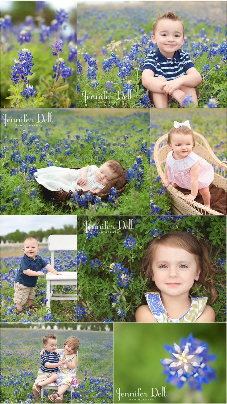 Texas Bluebonnets <3 © jennifer dell photography www.jenniferdellphotography.com #texasbluebonnets Thats a great idea.  Incorporating a local flower on kids shots...love it!!