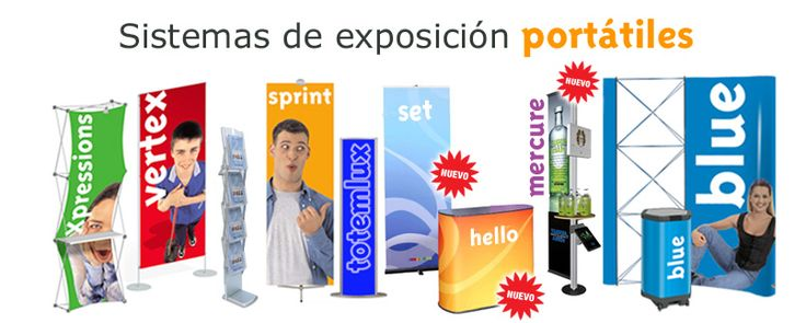 Stands, Pop-Up, expositores, displays, photocall, Sistemas de exposicion portátiles, phtocal xpressions, fotocall vertex, portafolletos plegable Holdup, banner sprint, totem luminoso totemlux, roller enrollable set, mostrador hello, estructura mercure, stand portatil pop-up blue