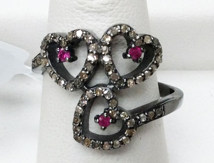 """Heart Pave Diamond Ring .925 Oxidized Sterling Silver Diamond Ring, Genuine handmade pave diamond Ring Size Approx 0.64""""(16 x 16 MM)"""