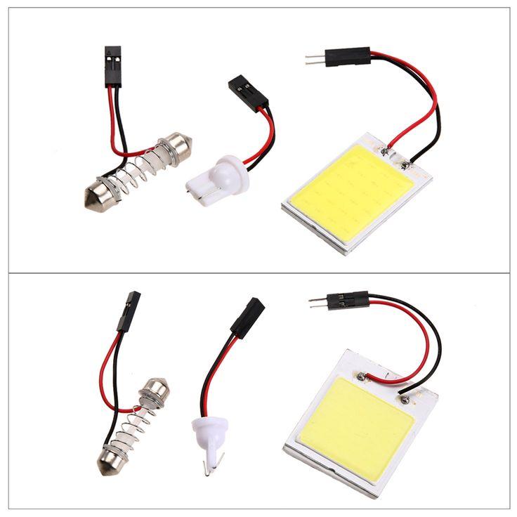 2 Pcs/Lot Xenon HID Ampoule Blanc COB LED Voiture Dôme Carte Lumière Intérieur LED Panneau Lampe 12 V 5500 K-6000 K 24LED/48LED voiture-style