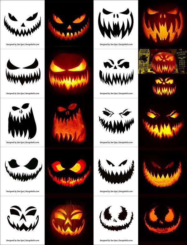unglaublich 290+ gratis druckbare Halloween Kürbis Carving Schablonen, Muster, Designs, Gesichter & Ideen