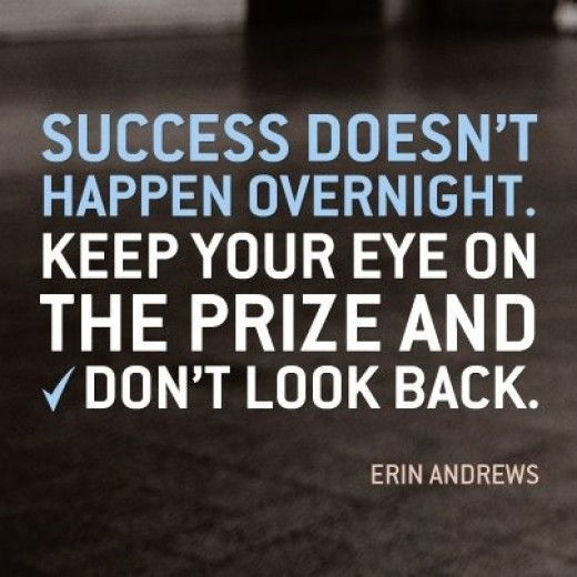 Success doesn't happen overnight. Keep your eye on the prize and don't look back.  - Erin Andrews