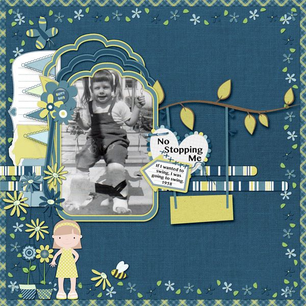 This is for Tbear's July 2017 Scraplift The Spotlight Challenge.  I lifted Swingin' Senior by Tbear  I used Summer Bloom by LeaUgoScrap.