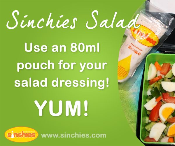 Going on a picnic or having a barbecue. Use an 80ml Sinchies reusable pouch for your salad dressing! YUM! Image on Sinchies  http://www.sinchies.com.au/sinchies-gallery/