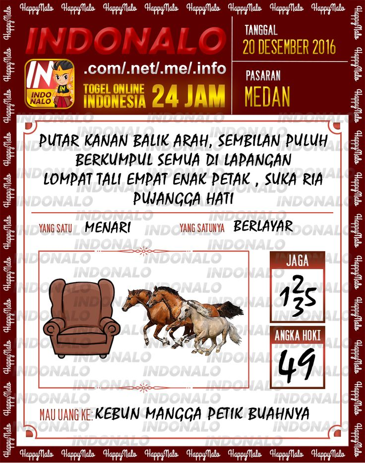 Undian Lotre 4D Togel Wap Online Live Draw 4D Indonalo Medan 20 Desember 2016