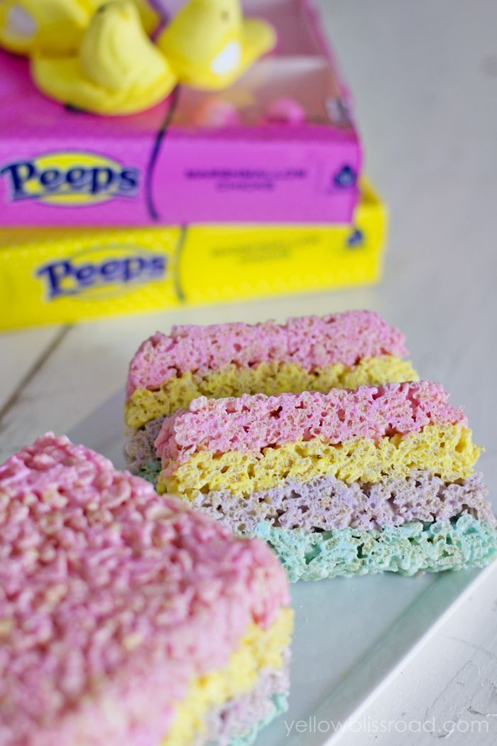 Layered Peeps Rice Krispie Treats - Such a cute idea for Easter!!