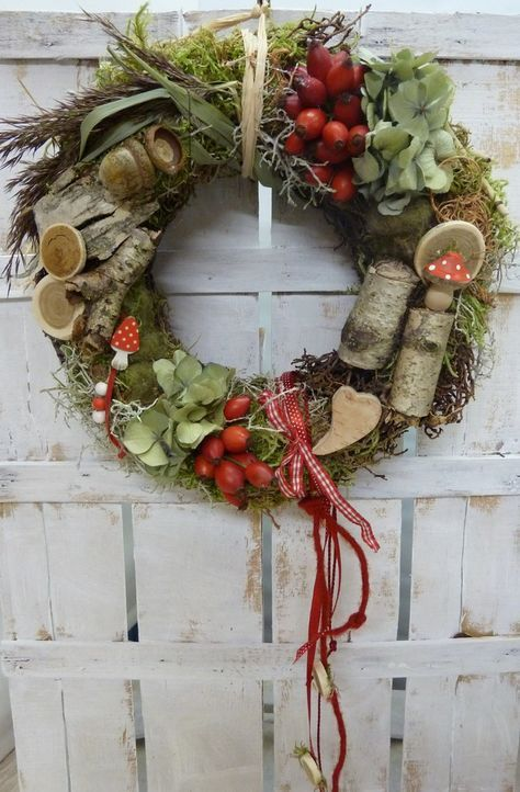 Wreaths – NATURAL WATER ♥ Country house autumn ♥ red white …