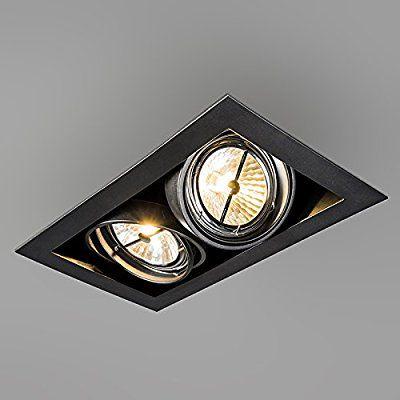 QAZQA Design / Moderne / Spot à encastrer / encastrables Oneon 111-2 noir Metal Rectangulaire Compatible pour LED G53 Max. 2 x 50 Watt