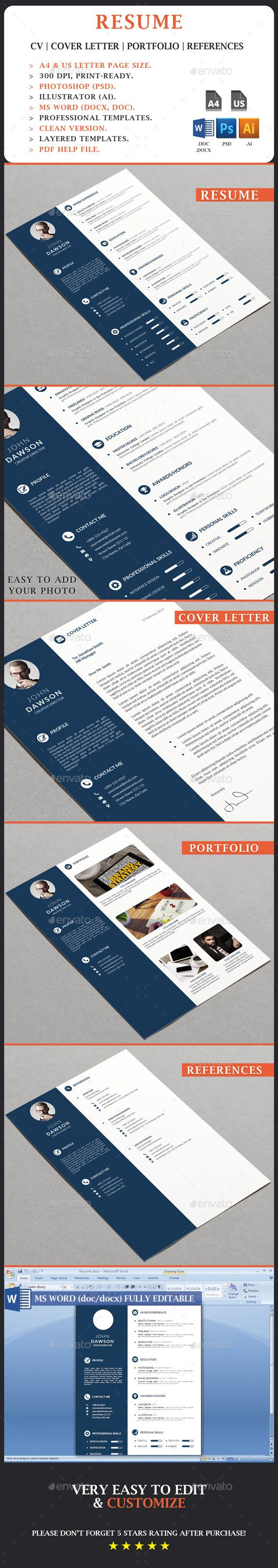 RESUME Clean minimal resume strong typographic structure and very easy to use and customize. Clean resume with cover letter is very well organized and labeled for you to get the best result in the minimum possible time to make your resume cv tailor for any opportunity. THE PACKAGE INCLUDES: Resume/CV Cover Letter Portfolio References FEATURES: A4 and US Letter Page Size. Fully Customizable and Editable. CMYK @ 300 DPI – Print Ready. MS Word 1997 – 2003 – 2007 or Higher Included. Free font…