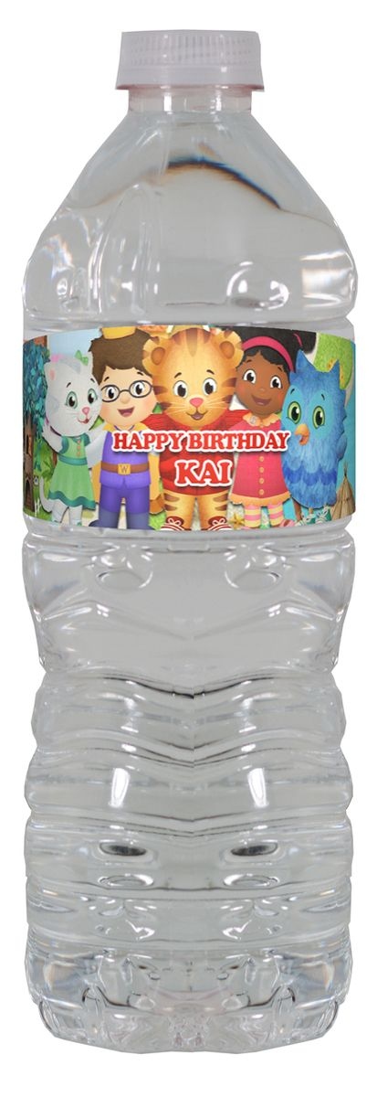 Daniel Tiger personalized water bottle labels – worldofpinatas.com