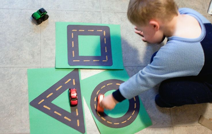 Children will be able to drive cars on different shape race tracks. They will learn about the different shapes and sizes.