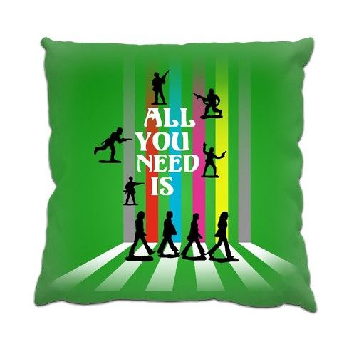 """'All You Need Is..' pop art cushion design at zippi.co.uk - Anti-War interpretation of the """"Abbey Road"""" album cover using toy soldier silhouettes and typography. #love #peace #music #beatles #beatlemania #popart #rock #abbeyroad #retro #toysoldiers #antiwar #nomorewar #silhouette #homedecor #cushions #designs #pillows #zippi #green #iconic #fabfour #johnpaulgeorgeringo"""