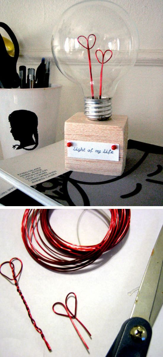 Valentine Lightbulb   Click Pic for 44 DIY Valentine Gifts for Him   DIY…