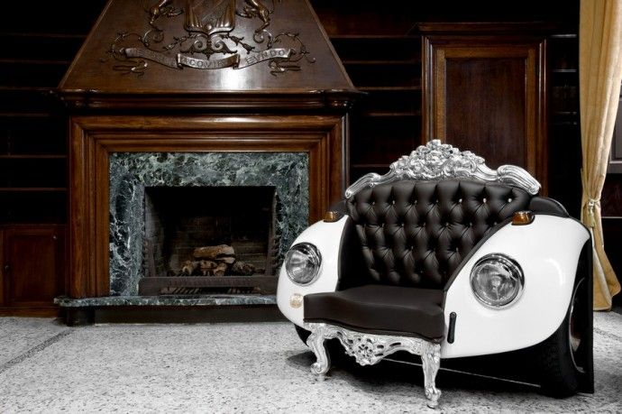 An Armchair made from Classic VW parts and Swarovrski crystals