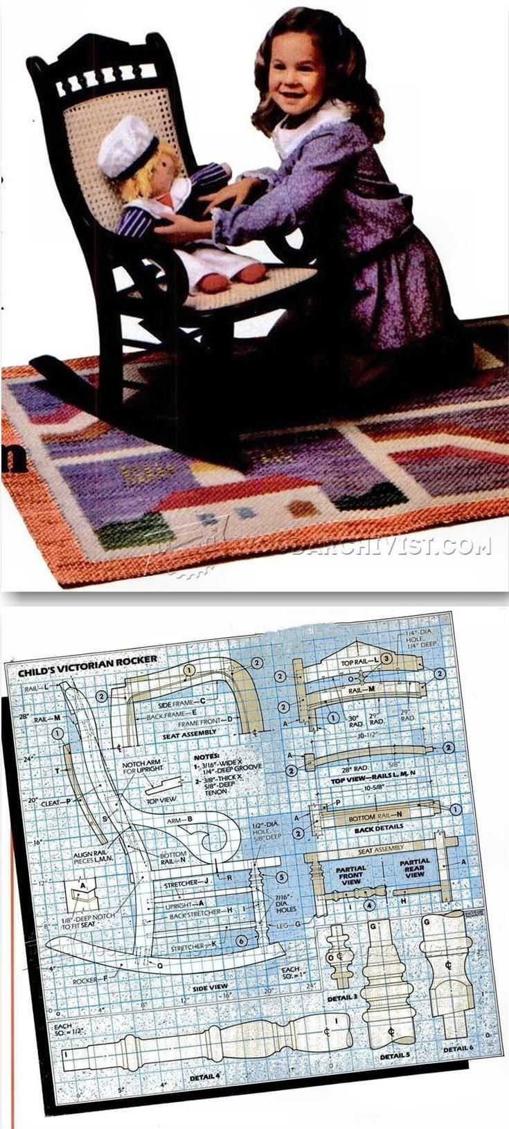 Victorian Rocking Chair Plans - Children's Furniture Plans and Projects | WoodArchivist.com
