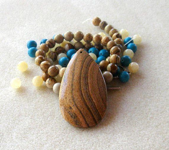 Picture Jasper  Yellow Jade Blue Magnesite Diy Jewelry Kit