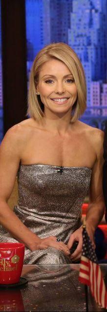 Kelly Ripa's silver strapless dress id