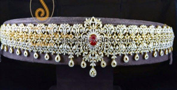Jewellery Designs: Diamond Vaddanam by PSJ