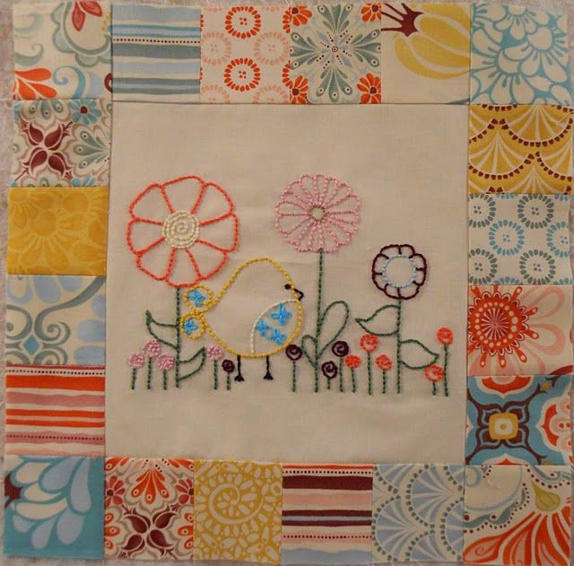 What an AWESOME way to incorporate pieces of vintage embroidery into a quilt!!! Or pillows! Or .... ANYthing! I LOVE THIS!