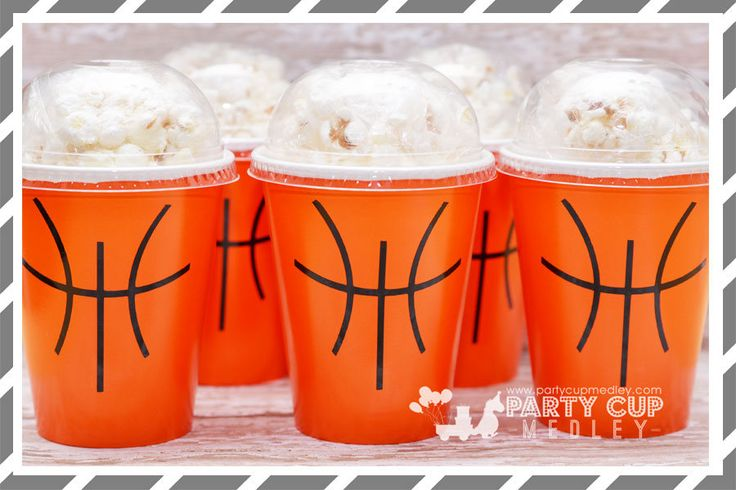 Basketball Birthday Party Favor Cups, Dome Lids-Set of 8, 10 or 12 by PartyCupMedley on Etsy