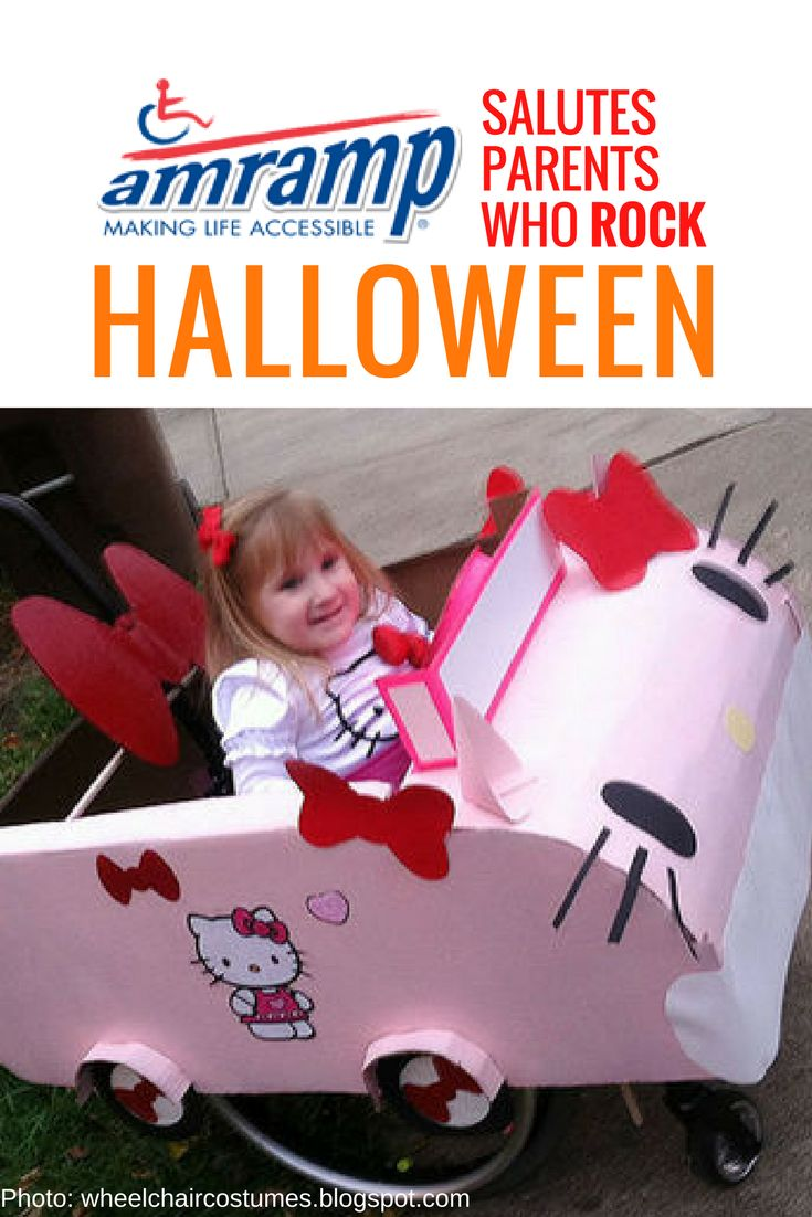 Amramp Wheelchair Costume - Hello Kitty is pretty in pink and driving in style for Halloween!