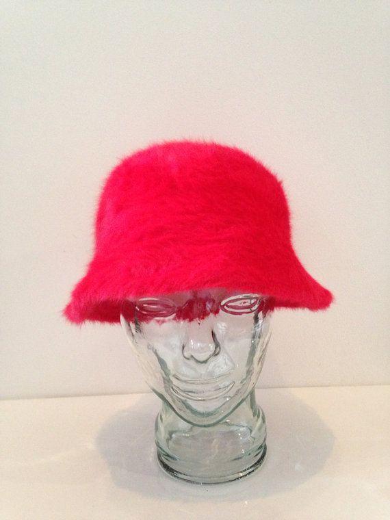 90s Fuzzy Fur Red Bucket Hat super Cute Kawaii by WILDCHILDSCA, $25.00