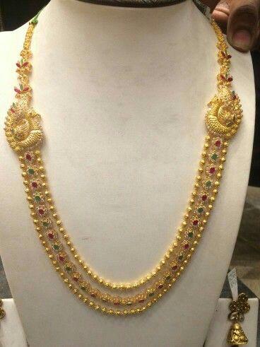 Gold balls long necklace