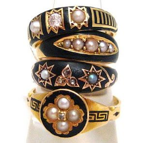 Pearl and Enamel Mourning Rings