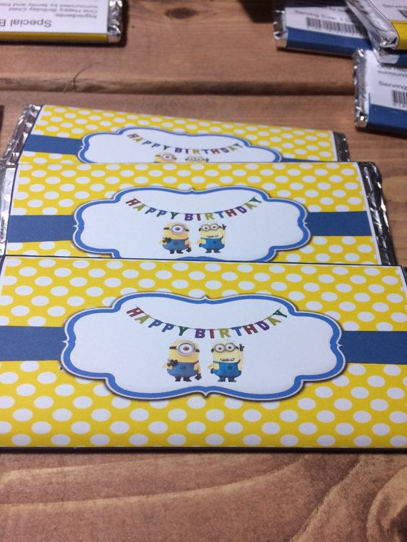 Minion birthday Candy Bar Wrapper by YourSweetDetails on Etsy