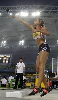 Jessica Ennis throwing shot put
