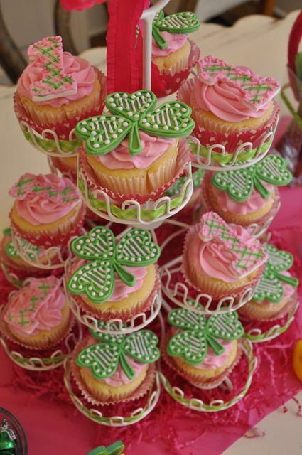 St Patrick birthday party theme! Love how pink is combined with the green!