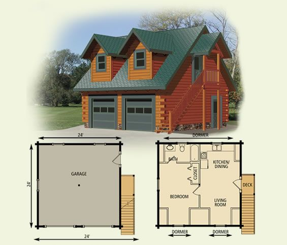 Efficiency apartment garage cottage log home and log cabin for Log cabin house plans with garage