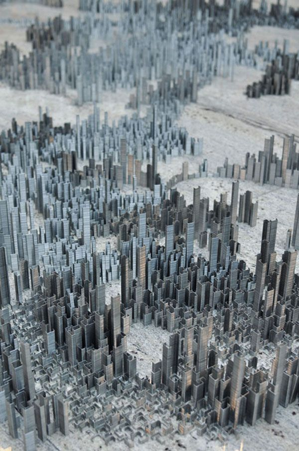 Peter root ephemicropolos art installation urban city made of staples 1