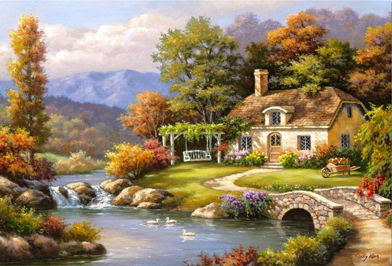 Cottage Stream - Counted cross stitch pattern in PDF format