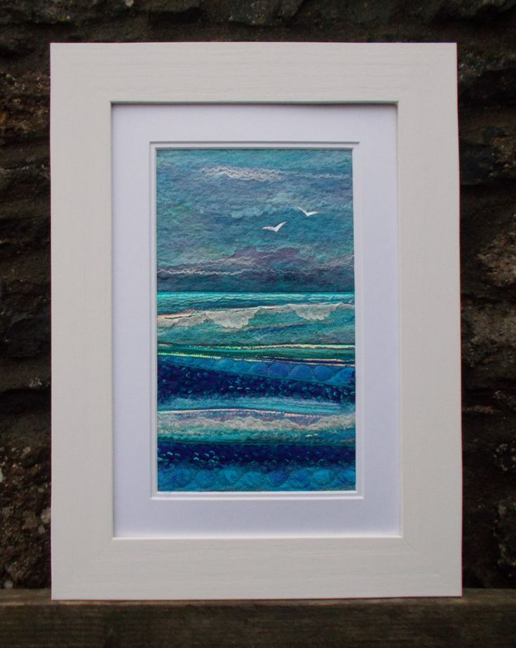 Storm on The Horizon Textile Seascape by AileenClarkeCrafts
