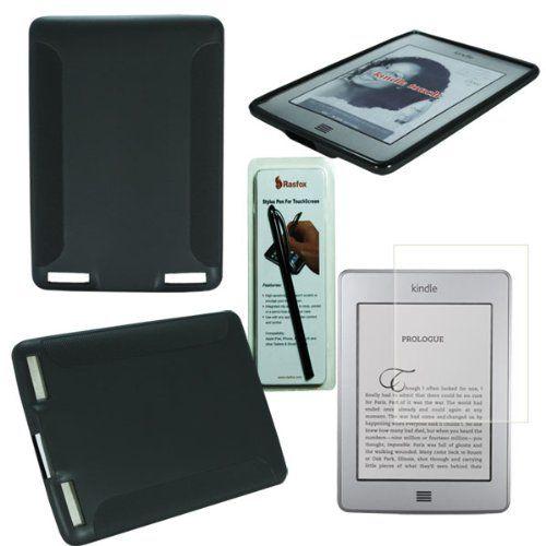 Rasfox Black Amazon Kindle Touch 3G & WiFi eBook Reader TPU Gel Back Cove Skin Case Screen Protector and Stylus Pen
