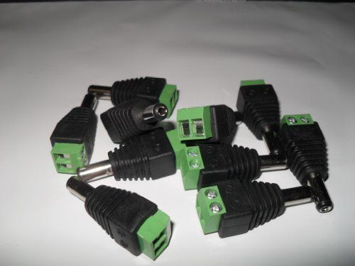 2.1mm x 5.5mm Male CCTV Power Plug Adapter - 10 Pack by WEL. $6.50. 2.1mm x 5.5mm Male Plug power connector x 10 pieces, Connectss to Female Power Jack on CCTV Camera, For Security CCTV power cable installation, Screw terminal strip for connecting power wires for other project use