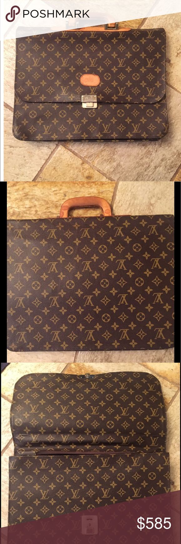 """📌📌AUTH. Louis Vuitton Briefcase priced low📌📌 Show off this lovely briefcase at work for years to come.  Four large compartments.  16"""" X 13"""".      ❣️ I am open to all offers BUNDLE & send me your offer😍 Louis Vuitton Bags Laptop Bags"""