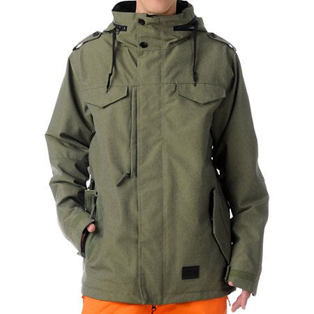 The M-65 men's snowboard jacket from 686 has a classic and modern military style that has been a 686 favorite for years. The M-65 snowboarding jacket has a traditional fit with a n army green waxed poly denim shell featuring 10,000MM waterproofing 8,000GM breathability to keep you nice and dry. Filled with 40 grams of insulation keeps you warm and with top of the line tech features including critically taped seams, 686 InfiDry waterproof coating, mesh lined underarm vents with gussets, an…