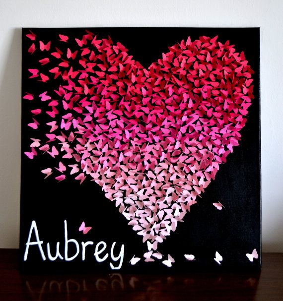 Artículos similares a Personalized 3D Ombre Butterfly Heart/ 3D Butterfly Art / Unique Modern Nursery Decor /Girl's Room Decor Wedding Gift - Made to Order en Etsy