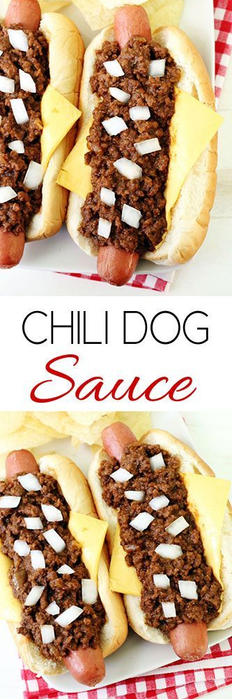 Chili Dog Sauce for Hot Dogs, Burgers & Fries #chilisauce #chilidogs #superbowl