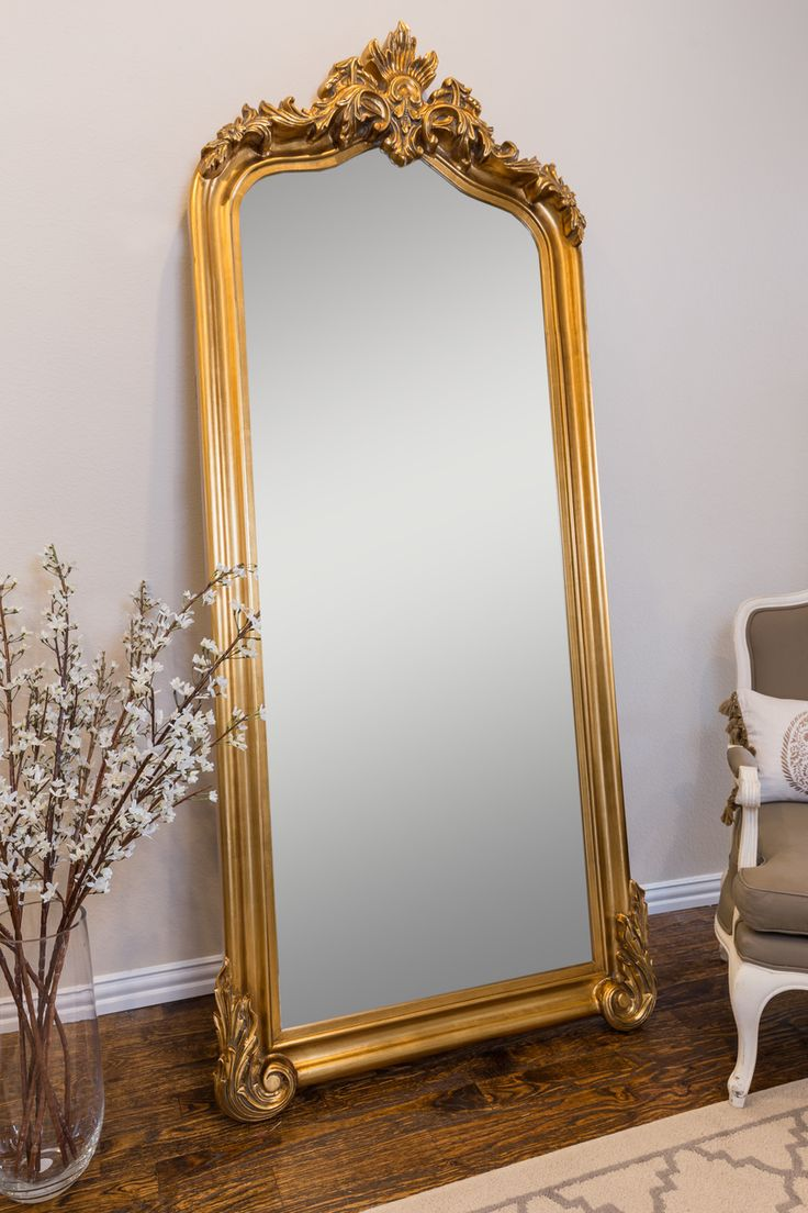 Blenheim Arched Oversized Leaner Mirror Gold/White