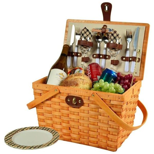 Picnic at Ascot Frisco American Style Picnic Basket For 2 -london... found on Polyvore featuring home, kitchen & dining, food storage containers, filler, sporting goods, picnic at ascot, plaid picnic basket, wooden baskets, wood basket and hand woven baskets