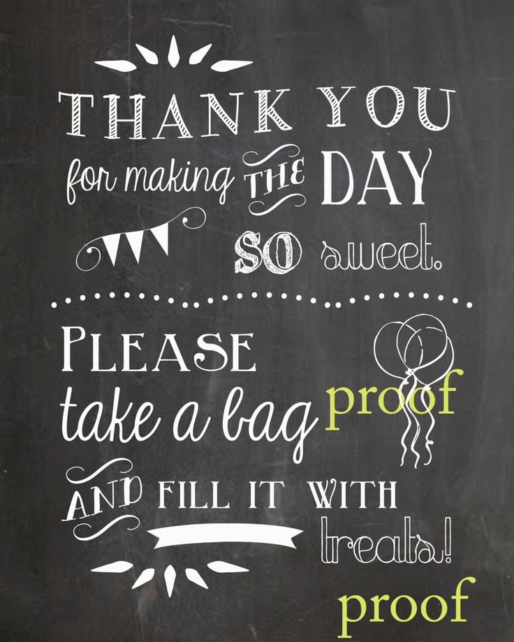 Candy Buffet/Bar Chalkboard Sign/Print for Birthdays, Weddings, Parties. $5.00, via Etsy.