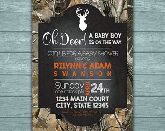 Oh Deer! Baby Boy Baby Shower Invitation RealTree Camouflage