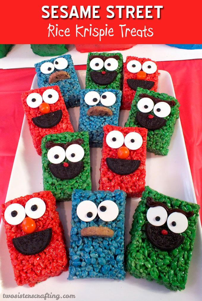 Sesame Street Rice Krispie Treats are so easy to make are will be an adorable treat at your Sesame Street Party. For more great Sesame Street Party Ideas follow us at https://www.pinterest.com/2SistersCraft/