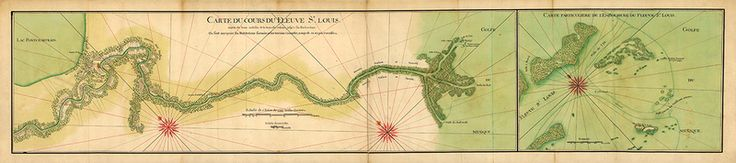 Old French manuscript map of the Mississippi River Delta with New Orleans and Lake Pontchartrain